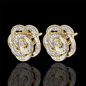 Boucles d'oreilles Fraicheur - Rose Dentelle - or blanc, or jaun