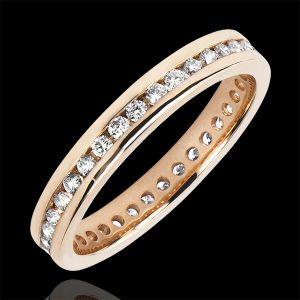 Alliance Origine - Lit de diamants - Tour Complet - or rose 9 ca
