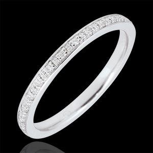 Alliance Eclats de diamant - tour complet - or blanc 9 carats et