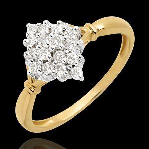 Bague losange pavée - 0.33 carats - 16 diamants - or blanc et o