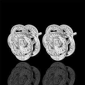 Boucles d'oreilles Fraicheur - Rose Dentelle - or blanc 9 carats