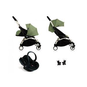 Poussette Yoyo+ complète cadre  blanc habillages 0+ et 6+ peppermint et siège auto iZi Go Modular noir Vert Babyzen
