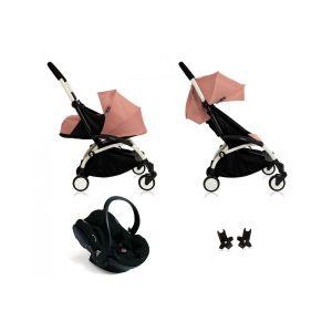 Poussette Yoyo+ complète cadre  blanc habillages 0+ et 6+ ginger et siège auto iZi Go Modular noir Noir Babyzen
