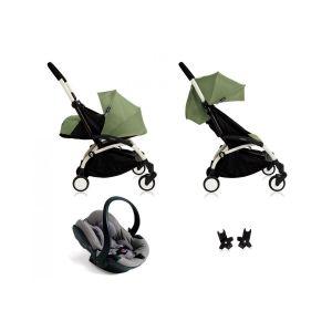 Poussette Yoyo+ complète cadre  blanc habillages 0+ et 6+ peppermint et siège auto iZi Go Modular gris Vert Babyzen