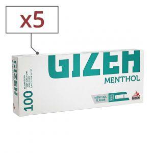 boite de 100 tubes gizeh silver tip menthol avec filtre x 5