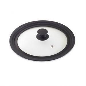 Couvercle en verre et silicone noir multidiamètres 16, 18 et 20 cm Mathon