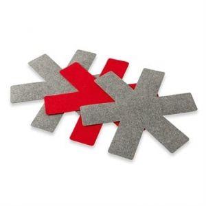 Set de 3 protections feutrines pour poêles rouge et gris 38 cm
