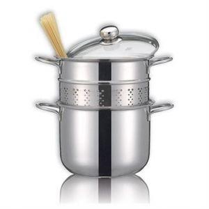 Cuiseur à pâtes en inox 18 10 avec couvercle en verre 22 cm 5 L