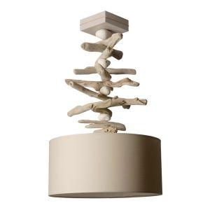 Lampe à suspendre galets + bois flotté Coc'Art