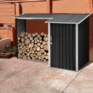 Abri bûches avec rangement en acier Zagreb 2,8 m²
