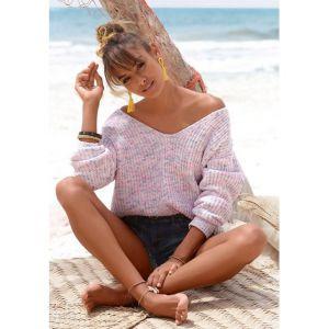 Buffalo : pull-over de plage en douce maille chenille - Buffalo LM - Multicolore - Taille 38/40