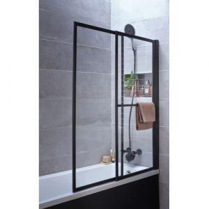 Pare-baignoire coulissant et relevable SECURE Noir mat - 2 volets