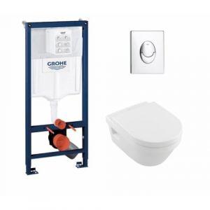 Pack Grohé Rapid SL Mural + Cuvette Architectura Design sans bride + Plaque Chromée Brillante - GROHE