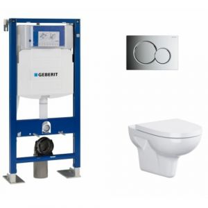 Pack WC Geberit UP320 + Cuvette sans bride Velvet + plaque Sigma CHR brillante - GEBERIT