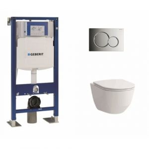 Pack WC Geberit UP320 + Cuvette sans bride Rimless + plaque sigma CHR brillante  - GEBERIT
