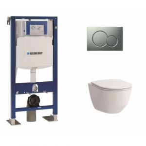 Pack WC Geberit UP320 + cuvette sans bride Rimless + plaque Sigma CHR mate - GEBERIT