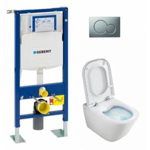 Pack WC Geberit UP320 + Cuvette GAP sans bride Cleanrim + plaque Sigma CHR brillante - GEBERIT