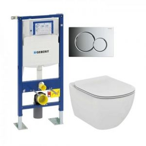 Pack WC Geberit UP320 + Cuvette AquaBlade TESI + Sigma Chromé Brillant - GEBERIT