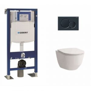 Pack WC Geberit UP320 + Cuvette sans bride Rimless + plaque sigma noire - GEBERIT