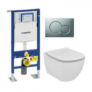 Pack WC Geberit UP320 + Cuvette AquaBlade TESI +  Sigma chromé Mat - GEBERIT