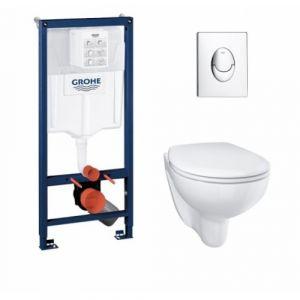 Pack Grohé Rapid SL Mural + Cuvette sans bride BAU CERAMIC + Plaque Chromée Brillante - GROHE