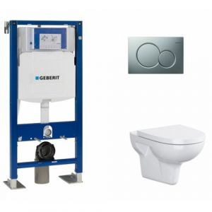 Pack WC Geberit UP320 + Cuvette sans bride Velvet + plaque Sigma CHR mat - GEBERIT