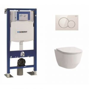 Pack WC Geberit UP320 + Cuvette sans bride Rimless + plaque sigma blanche - GEBERIT
