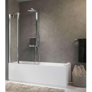 Pare-baignoire 1 porte pivotante + 1 fixe AURORA 3 Transparent - NOVELLINI