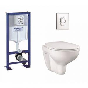 Pack Grohe Rapid SL + Cuvette GROHE sans bride Bau Ceramic + Plaque Chromée - GROHE