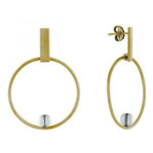 Boucles d'Oreilles Clous Laiton Rectangle Plat Cercle et Perle de Verre - Blanc