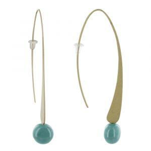 Boucles d'Oreilles Crochet Plat Métal Doré et Perles Céramique - Turquoise