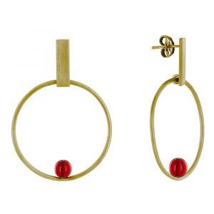Boucles d'Oreilles Clous Laiton Rectangle Plat Cercle et Perle de Verre - Rouge
