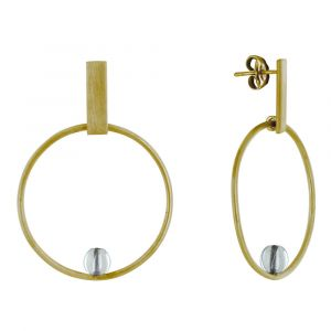 Boucles d'Oreilles Clous Laiton Rectangle Plat Cercle et Perle de Verre