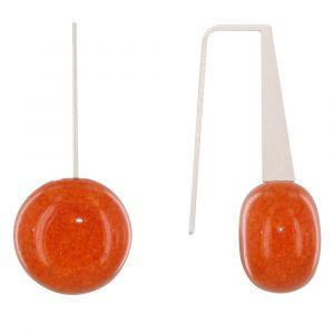Boucles d'Oreilles Crochet Plat Métal Argenté et Galets Céramique - Orange