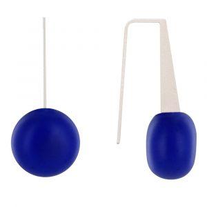 Boucles d'Oreilles Crochet Plat Métal Argenté et Galets Céramique - Bleu