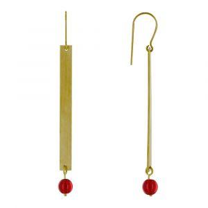 Boucles d'Oreilles Crochet Laiton Rectangle Plat et Perle de Verre - Rouge
