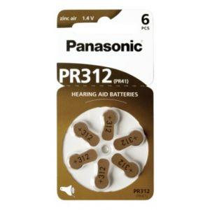 Panasonic PR 312 Zinc air pour app. auditif       Lot de 6