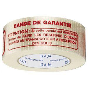 Adhésif armé chaîne et trame ''''BANDE DE GARANTIE'''' 140 microns RAJATAPE 50 mm x 50 m