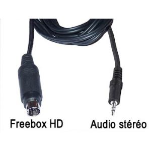Cordon cable audio stéréo blindé mini din 9 broches pour Freebox HD vers jack 3.5mm male L=2m