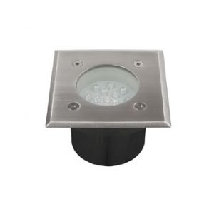 Spot LED 220v 230v 0.7w BLANC lumière du jour 6500k, Carré, étanche IP66 pour l'exterieur. Faible profondeur. Encastrable pour sol de terrasse & jardin