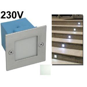 Spot encastrable mural carré à LED 230v intérieur / extérieur pour escalier , allée de jardin , voie de garage led blanc lumiere du jour 4000K