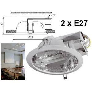 Spot encastrable 230v pour faux plafond professionnel  23cm blanc 2 x E27 pour double ampoule fluocompacte à économie d'energie