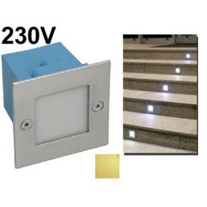 Spot encastrable mural carré à LED 230v intérieur / extérieur pour escalier , allée de jardin , voie de garage  led blanc chaud