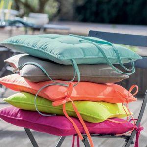 2 Coussins de chaise Unis Mandarine - 40cm x 40cm