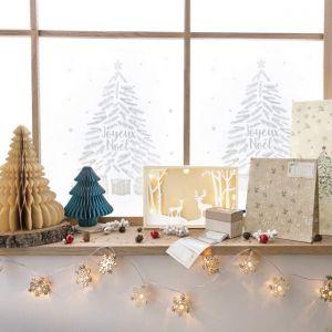 Décoration de Noël Noël - 100 étiquettes autocollantes Noël en pleine nature 7cm x 4cm +10 pochettes cadeaux Noël en pleine na