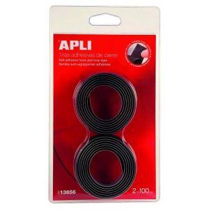 13656 - Lot de 2 bandes auto-agrippantes type Velcro, adhésives, 20mm x 1m, noir