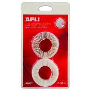 13657 - Lot de 2 bandes auto-agrippantes type Velcro, adhésives, 20mm x 1m, blanc