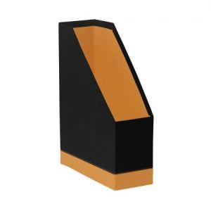 118836C - Porte-revues Orange&Black, dos de 100, simili cuir, coloris noir