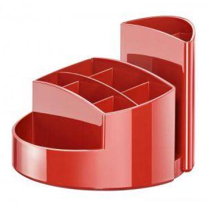 17460-17 - Pot à crayons RONDO, 9 compartiments, en PS, coloris rouge