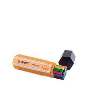 8820-1 - Boîte de 20 stylos-feutres point 88, tracé 0,4mm, encres 20 coul., coloris jaune/assortis